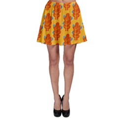 Bugs Eat Autumn Leaf Pattern Skater Skirt