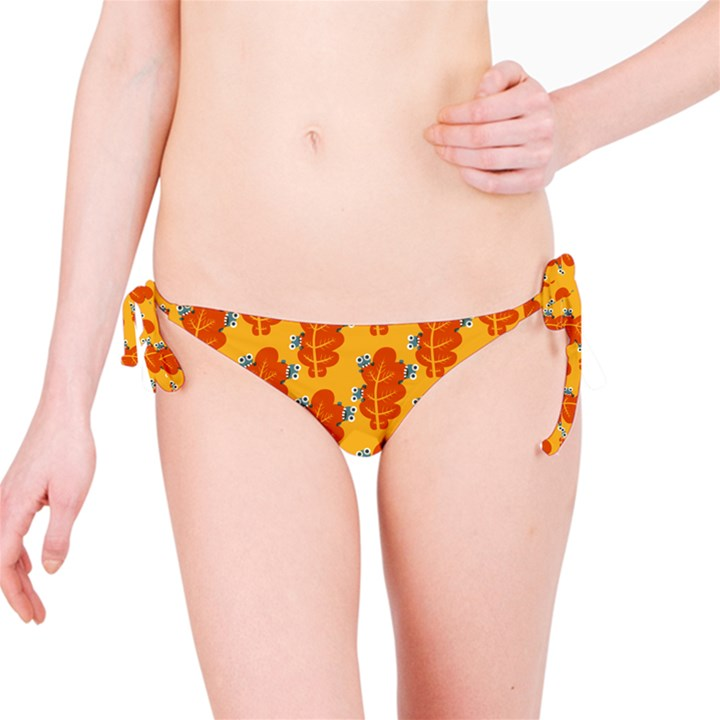 Bugs Eat Autumn Leaf Pattern Bikini Bottom
