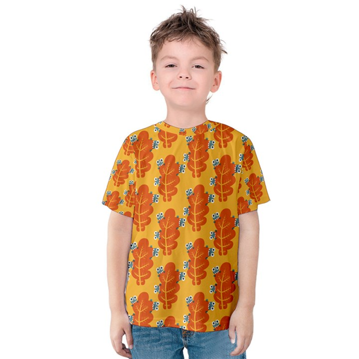 Bugs Eat Autumn Leaf Pattern Kids  Cotton Tee