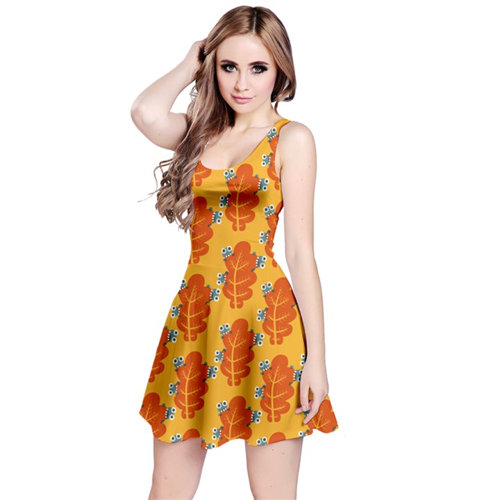 Bugs Eat Autumn Leaf Pattern Reversible Sleeveless Dress