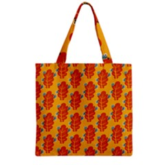 Bugs Eat Autumn Leaf Pattern Grocery Tote Bag by CreaturesStore