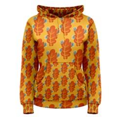 Bugs Eat Autumn Leaf Pattern Women s Pullover Hoodie