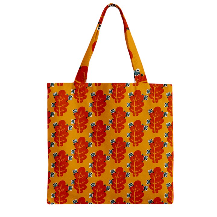 Bugs Eat Autumn Leaf Pattern Zipper Grocery Tote Bag