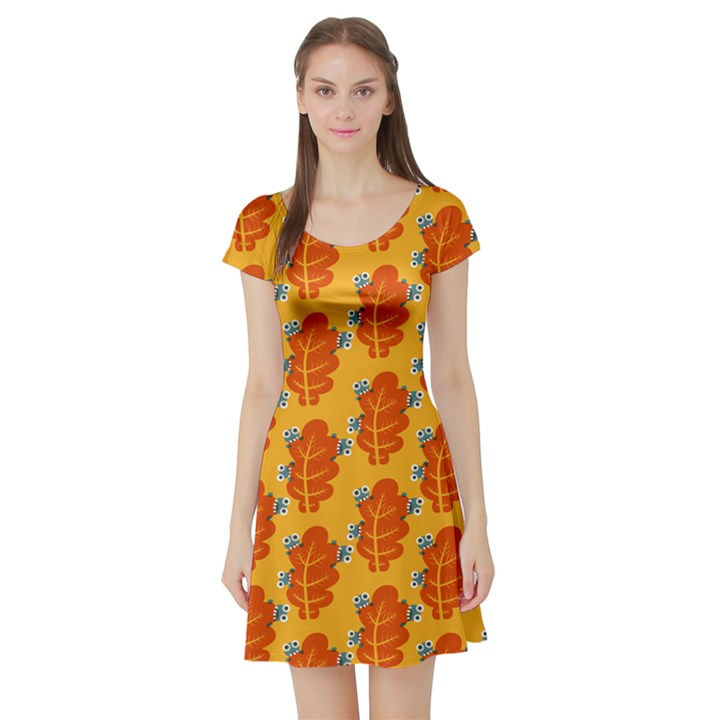 Bugs Eat Autumn Leaf Pattern Short Sleeve Skater Dress