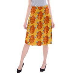 Bugs Eat Autumn Leaf Pattern Midi Beach Skirt by CreaturesStore