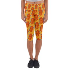 Bugs Eat Autumn Leaf Pattern Capri Yoga Leggings