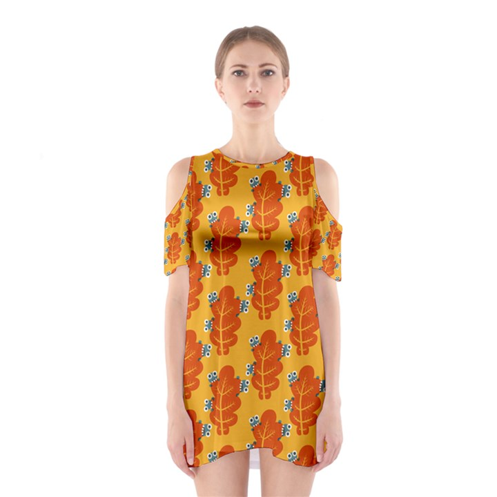 Bugs Eat Autumn Leaf Pattern Cutout Shoulder Dress