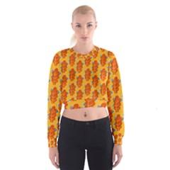 Bugs Eat Autumn Leaf Pattern Women s Cropped Sweatshirt by CreaturesStore