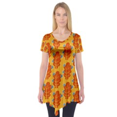 Bugs Eat Autumn Leaf Pattern Short Sleeve Tunic  by CreaturesStore