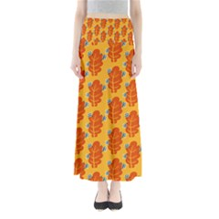 Bugs Eat Autumn Leaf Pattern Maxi Skirts