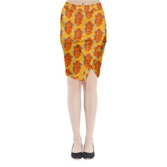 Bugs Eat Autumn Leaf Pattern Midi Wrap Pencil Skirt