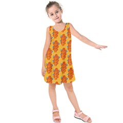 Bugs Eat Autumn Leaf Pattern Kids  Sleeveless Dress by CreaturesStore