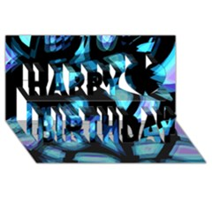 Blue Light Happy Birthday 3d Greeting Card (8x4) by Valentinaart