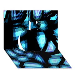 Blue Light Apple 3d Greeting Card (7x5) by Valentinaart