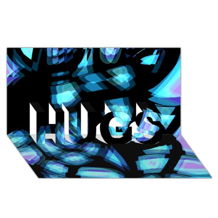 Blue light HUGS 3D Greeting Card (8x4)