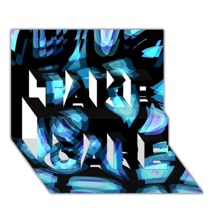 Blue light TAKE CARE 3D Greeting Card (7x5)