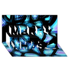 Blue Light Merry Xmas 3d Greeting Card (8x4) by Valentinaart