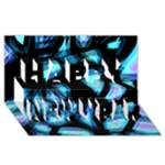 Blue light Happy New Year 3D Greeting Card (8x4)
