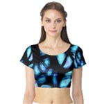 Blue light Short Sleeve Crop Top (Tight Fit)