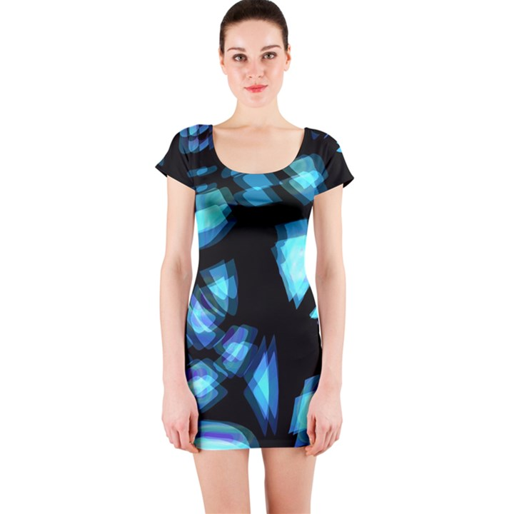 Blue light Short Sleeve Bodycon Dress