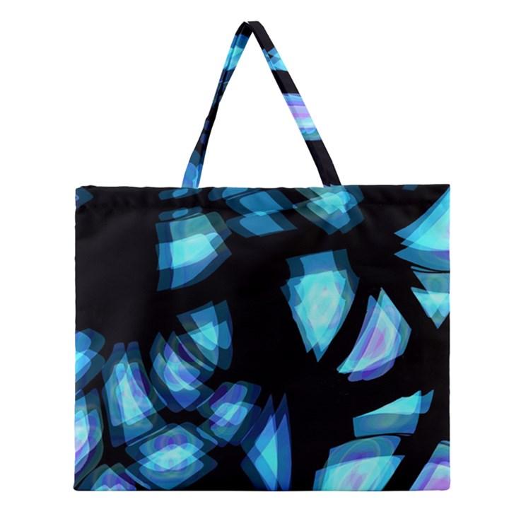 Blue light Zipper Large Tote Bag