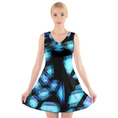 Blue light V-Neck Sleeveless Skater Dress