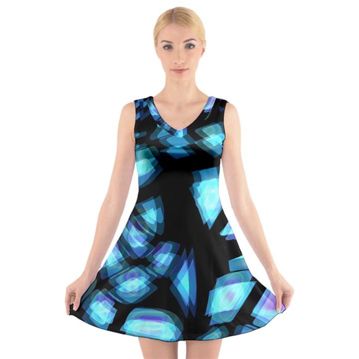 Blue light V-Neck Sleeveless Skater Dress