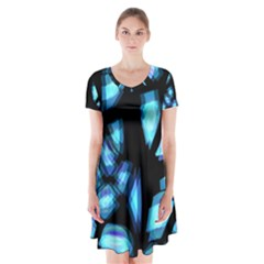 Blue light Short Sleeve V-neck Flare Dress