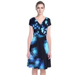 Blue Light Short Sleeve Front Wrap Dress