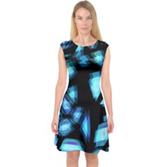 Blue light Capsleeve Midi Dress