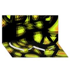 Yellow Light Twin Heart Bottom 3d Greeting Card (8x4) by Valentinaart