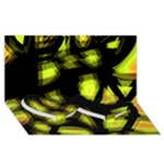 Yellow light Twin Heart Bottom 3D Greeting Card (8x4)