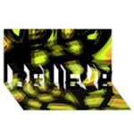 Yellow light BELIEVE 3D Greeting Card (8x4)