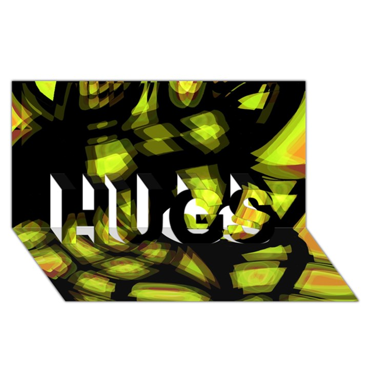 Yellow light HUGS 3D Greeting Card (8x4)