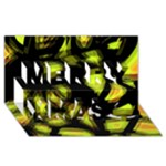 Yellow light Merry Xmas 3D Greeting Card (8x4)