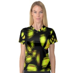 Yellow Light Women s V Neck Sport Mesh Tee
