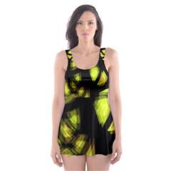 Yellow Light Skater Dress Swimsuit