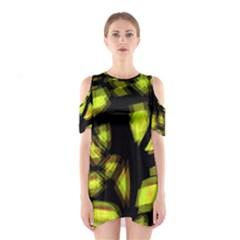 Yellow Light Cutout Shoulder Dress