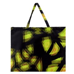 Yellow Light Zipper Large Tote Bag by Valentinaart