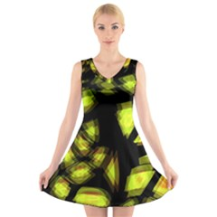 Yellow Light V Neck Sleeveless Skater Dress