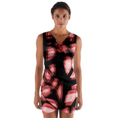 Red light Wrap Front Bodycon Dress
