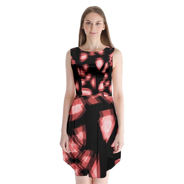 Red light Sleeveless Chiffon Dress