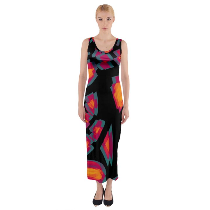 Hot, hot, hot Fitted Maxi Dress