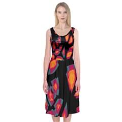 Hot, Hot, Hot Midi Sleeveless Dress