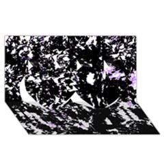 Little Bit Of Purple Twin Hearts 3d Greeting Card (8x4) by Valentinaart