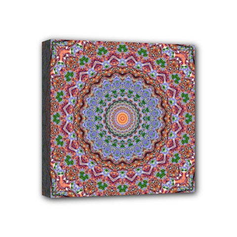 Abstract Painting Mandala Salmon Blue Green Mini Canvas 4  X 4