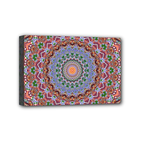 Abstract Painting Mandala Salmon Blue Green Mini Canvas 6  X 4  by EDDArt