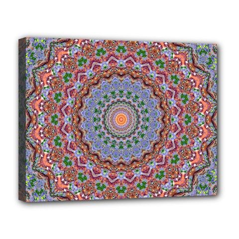 Abstract Painting Mandala Salmon Blue Green Canvas 14  X 11