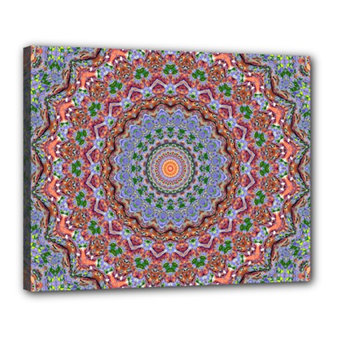 Abstract Painting Mandala Salmon Blue Green Canvas 20  X 16