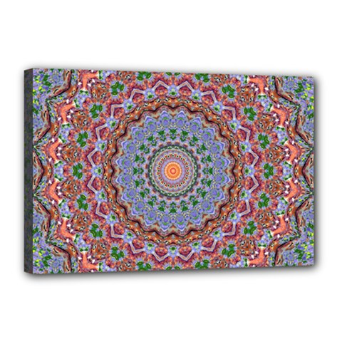 Abstract Painting Mandala Salmon Blue Green Canvas 18  X 12